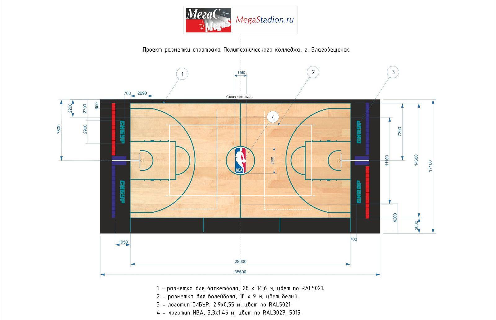 разметка спортивного зала для баскетбола 28х15 м